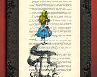 vintage dictionary art print ALICE IN WONDERLAND print on vintage dictionary page