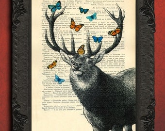 Deer head orange blue butterflies, stag art elk print, deer wall art vintage dictionary print