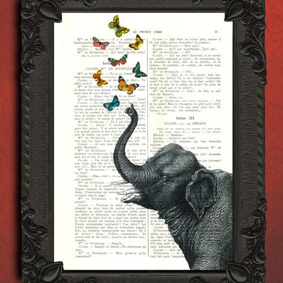 Butterfly blowing elephant vintage mixed media illustration book page