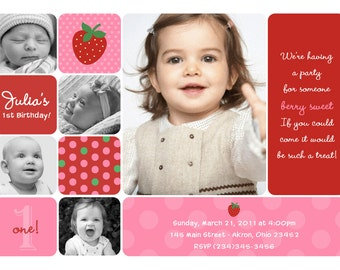 Strawberry Photo Birthday Invitations Kids Summer Party | Custom Design Professionally Printed Card Stock Girl Twin Sibling Stationery Best