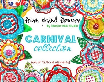 Digital Clip Art -- Fresh Picked Flowers -- Carnival Collection (Instant Download)