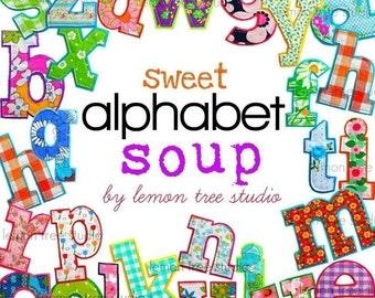 Digital Clip Art -- Sweet Alphabet Soup (Instant Download)