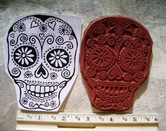 Dia de Los Muertos  Day of the dead skull 3x4inch rubber stamps un-mounted dulces de calavra  rubber stamping