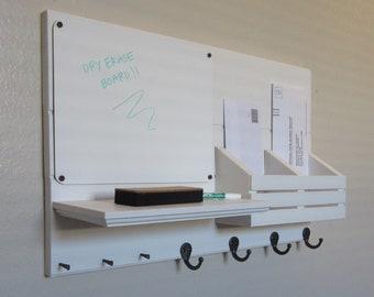 Shabby Chic Nautical Beach Cottage Entryway Dry Erase DryErase Board Key ring Coat Rack Hanger LARGE Mail holder Organizer in Whisper White