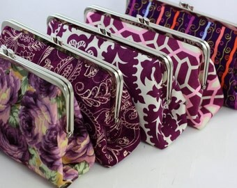 Purple Wedding Purses / Bridesmaids Clutches -- Set of 5