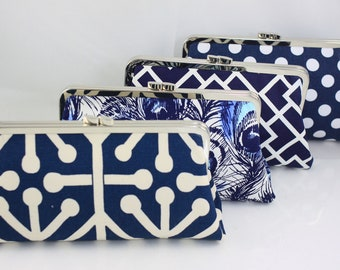 Navy Wedding Purse / Bridesmaid Clutches / Design Your Own for Wedding Bridal Party Gifts - Set of 9