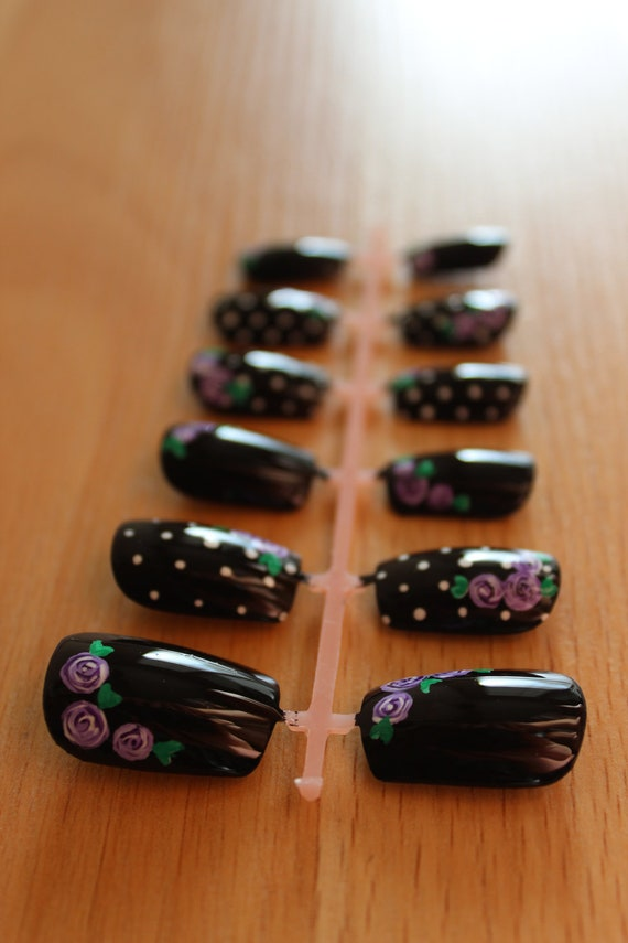 Black Polka Dot Nails with Vintage Purple Roses