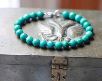 8mm Mens Beaded Turquoise Bracelet