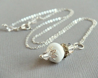 White Bridal Necklace Pendant Vintage Wedding Jewelry Country