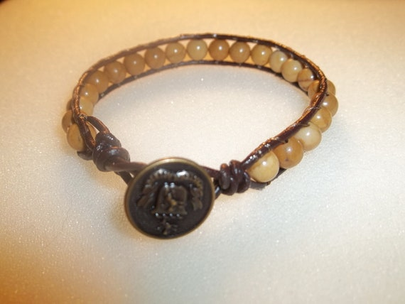 Single wrap bracelet - Brown leather and 6mm picture jasper gemstone beads with antq-gold button closure