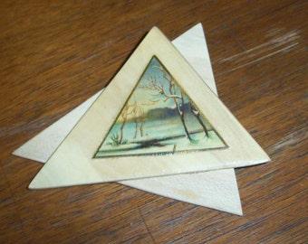 Pin Antique Treen Art on Blonde Wood Triangular Vignette Wearable Art Brooch Gift Free Shipping