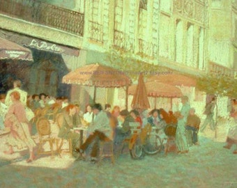 Custom Oil Painting Paris Cafe, French, figures, street scene, pink, green, red, bluegreen, yellow, restaurant, outdoors, table umbrellas