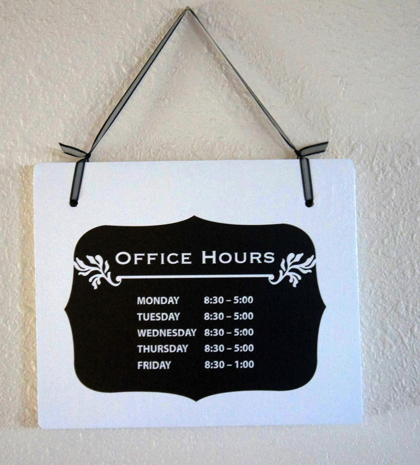 office hours sign window business hanging wood signage. Black Bedroom Furniture Sets. Home Design Ideas