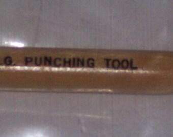 Punching tool,Acclaim,large bore,wood handle w/metal tip,paper,leather,tin,art