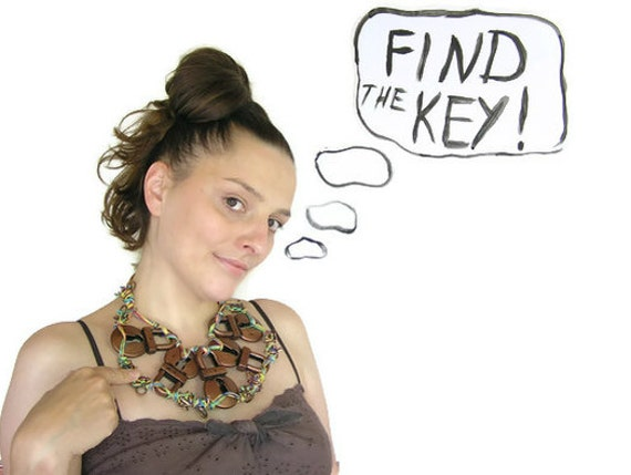 "Bib ""Find the Key"". OOAK, handmade jewelry, craft gift, multicolor, copper colored, unique accessory"