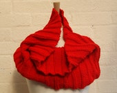Knitted Chunky Red cowl, snood