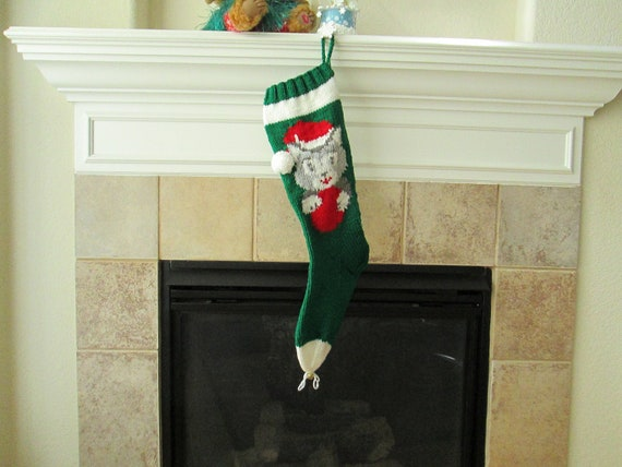 Hand Knitted Christmas Stocking with Kitten Face