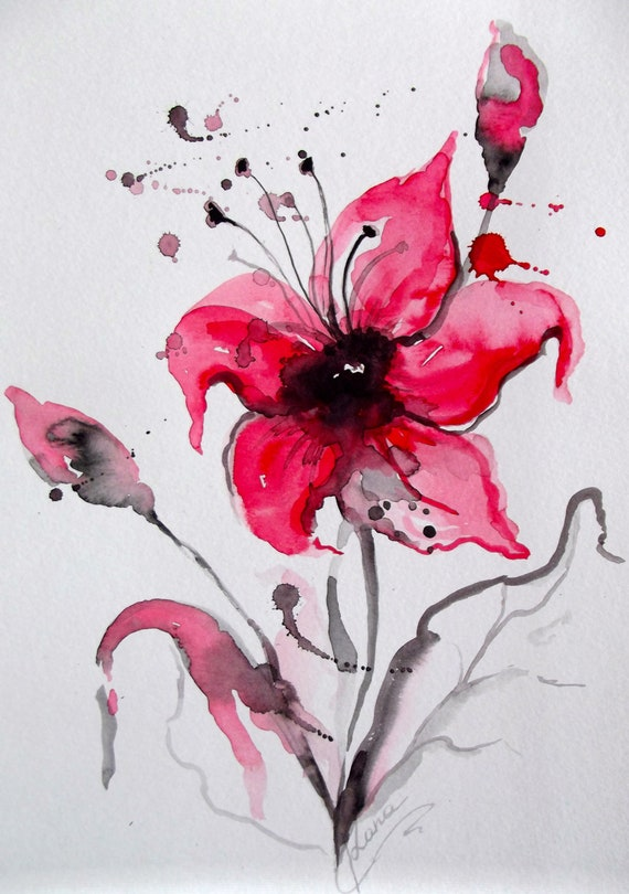 Abstract Floral Original Watercolor Painting - Modern Home Decor - Affordable Gift - Red and Black Watercolors