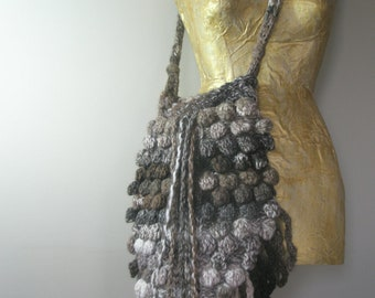 Brown multicolored hand knitted hip bag