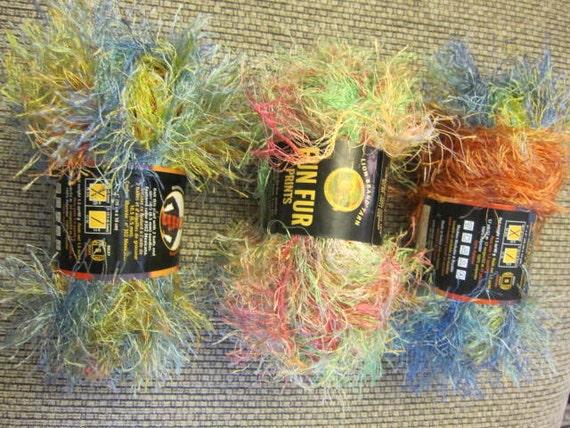 FUN FUR  Yarn  3  Full Skeins  Multi Color