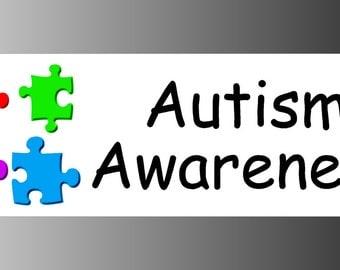 Autism Awareness Four Color Puzzle Logo Bumper Sticker Decal