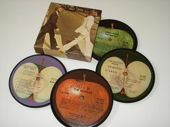 The BEATLES vinyl record coaster set record album coasters