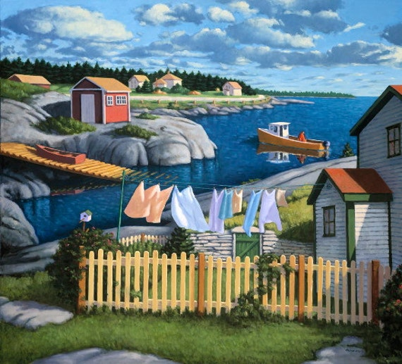 "Late Afternoon, Blue Rocks, 9"" H x 10"" W, Offset Print by Paul Hannon, FREE SHIPPING Canada & US"