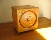 Vintage Wood Block Clock, Butcher Block Clock, Cube Shaped, Square, Modern