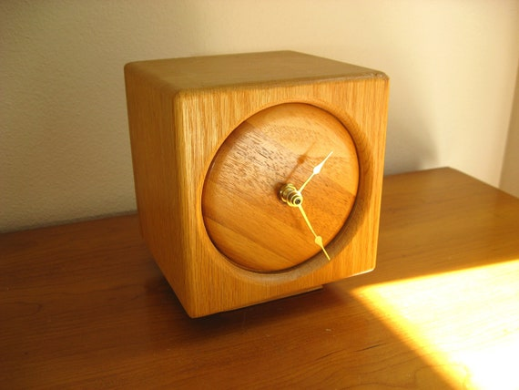 Vintage Wood Block Clock, Butcher Block Clock, Cube Shaped, Square, Modern