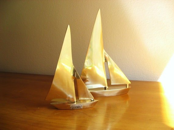 Vintage Enesco Brass Sailboat Figurines, Nautical Figurines, Boating, Mid Century