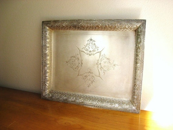 Antique 1800's Vanity Tray, J.A. Babcock Pewter, Ornate Dresser Tray