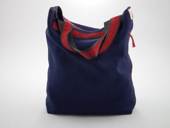 SALE -25% OFF - Abra - handmade tote bag - cotton fabric - red petersham ribbon