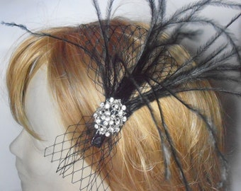 Wedding Fascinator. Feather Fescinator. Black feather fascinator with sparkly crystal center.