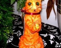 Paper mache Meditating Cat