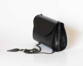 Black leather bag small purse black leather handbag   Dalfia women unique leather bags