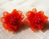 Orange Earrings. Organza Ribbon Flower Earrings, Bridesmaid Earrings, Beaded Earrings, Bridesmaid Gift