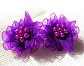 Purple Earrings. Organza Ribbon Flower Earrings, Bridesmaid Earrings, Beaded Earrings, Bridesmaid Gift
