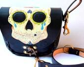 leather  BELT and SHOULDER BAG cross body bag sugar skull Day of the Dead Dia de los Muertos