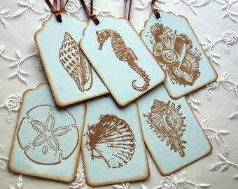 Blue Beach Tags w/ Seashells and Seahorse -Set of 6 Assorted Gift/ Favor Tags (Beach Wedding/ Bridal Shower/ Sweet 16/ Birthday/ Scrapbooks)