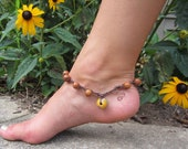 Boho Crochet Anklet - Crochet Artisan Jewelry - African Krobo bead accent,  Bayong wood beads, Rustic and Tribal