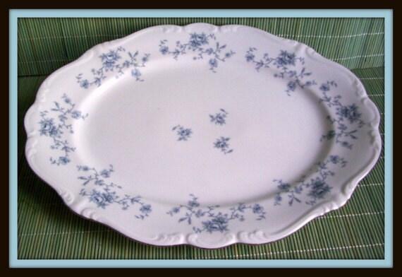 Vintage Johann Haviland Large Platter Collectible Blue Garland 1970's