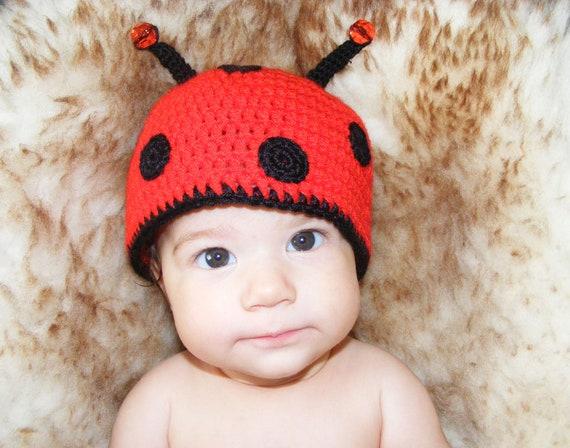 Crochet baby ladybug hat 3 6 month beanie newborn photo