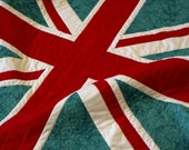 Baby British Quilt - Sale - Black Friday Cyber Monday - Teal and Red - ready to ship - England, United Kingdom, union jack