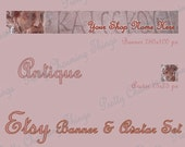 ANTIQUE Etsy Shop Set Banner Avatar, Inspirational, Digital Images, Bookmarks, Gift Tags, Art Projects, Classical Inspiration, Premade