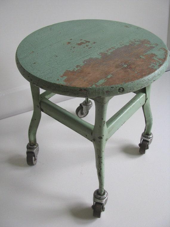 Vintage stool on casters
