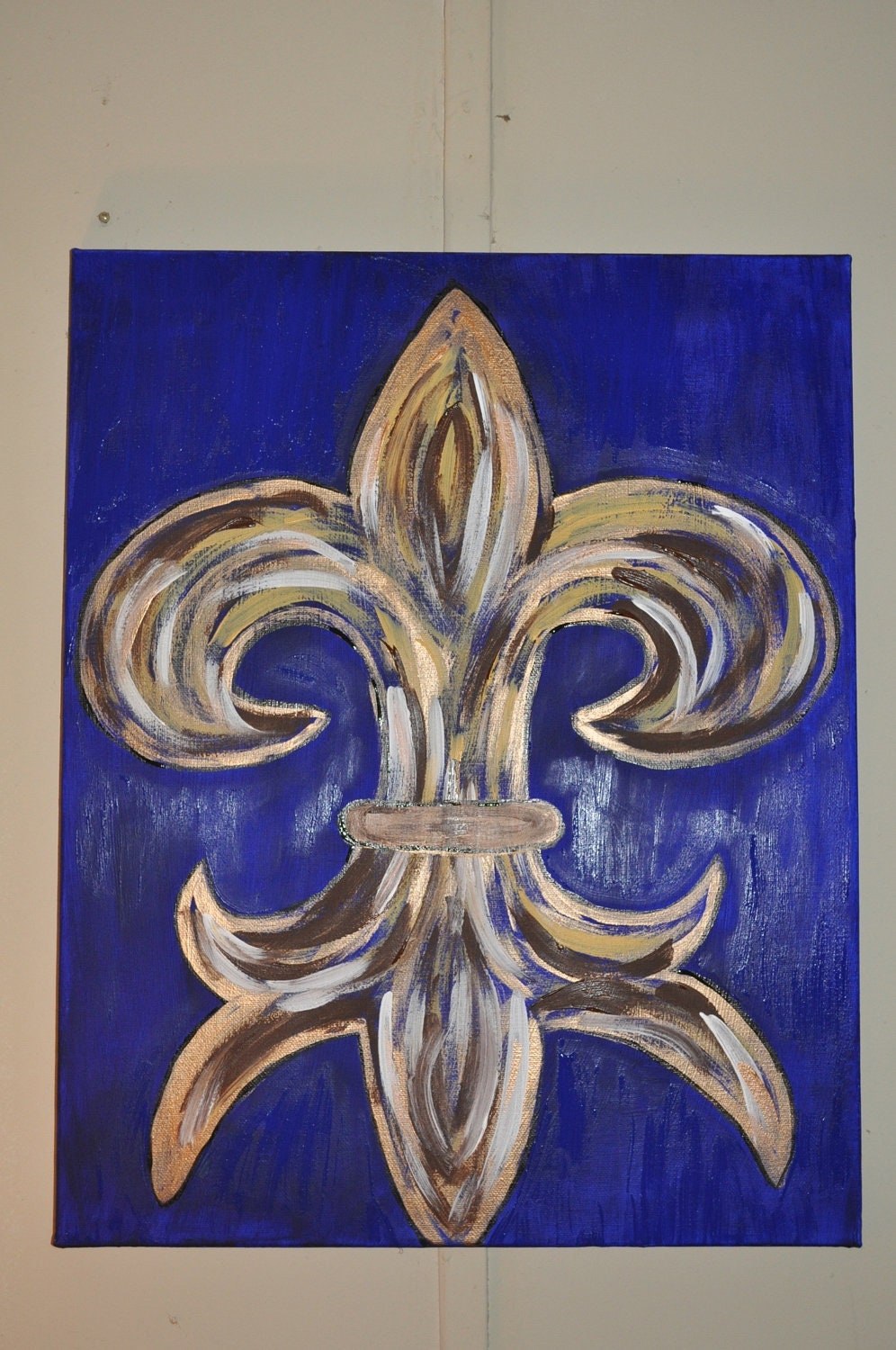 Items similar to fleur de lis canvas painting on etsy - Fleur paint ...