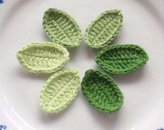6 Crochet  Leaves In Green Combination YH-040-01
