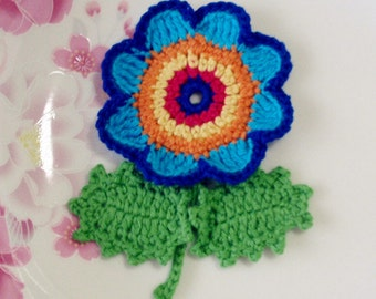 Crochet Flower With Leaves In Multicolor YH-073-04