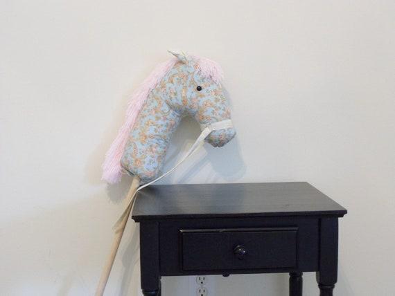 Stick Pony, Hobby Horse, Pony Party, Horse on a stick, Light Blue Moda Faded Memories