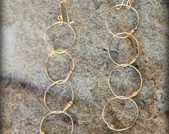 Always Earrings, 14k gold filled wire circles, Wire Wrapped, Connected Circle Earrings, Stocking Stuffer, Hostess Gift AD1315X